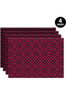 Jogo Americano Mdecore Geométrico 40X28Cm Pink 4Pçs