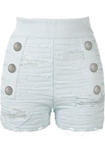 Balmain Short Com Efeito Puído - Azul