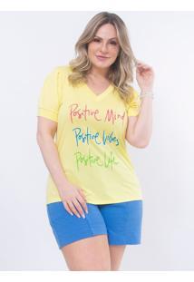 T-Shirt Plus Size Positive: Amarelo: 46