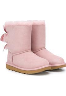 Ugg Kids Ankle Boot Com Detalhe De Laço - Rosa