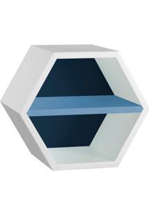 Nicho Hexagonal Favo Ii Com Prateleira Branco Com Azul Noite E Azul Serenata