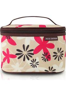 Necessaire Frasqueira Estampada Pequena Jacki Design Nylon - Feminino-Marrom+Bege
