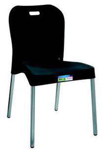 Cadeira Com Pé De Alumínio Sem Braço Preta Paramount Plásticos