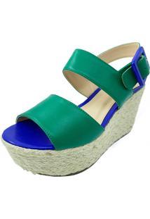 Sandália Antonietta Venetto Bicolor Hortelã E Verde/Azul