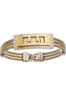 Bracelete De Aço Inox Tudo Jóias Com 15Mm De Largura Gold