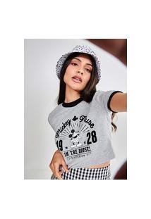 Camiseta Cropped College Mickey
