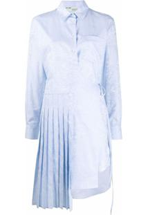 Off-White Vestido Assimétrico Com Estampa - Azul