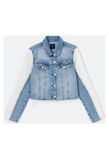 Jaqueta Cropped Jeans Bicolor Com Recortes Nas Mangas E Barra À Fio | Blue Steel | Azul | P