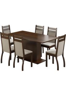 Sala De Jantar Com 6 Cadeiras Versalhes Madesa Tabaco Pérola