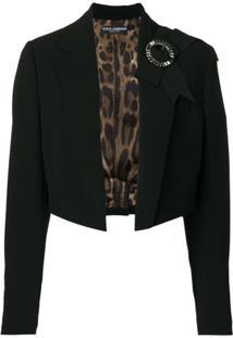 Dolce & Gabbana Blazer Cropped Com Laço - Preto