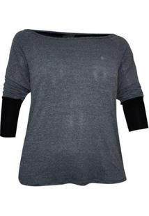 Camiseta Way Plus Size Fall - Feminino-Cinza