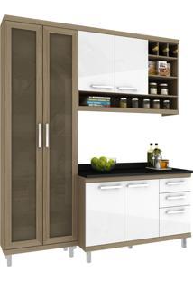 Cozinha New Vitoria 10 Avelã Hecol Móveis Marrom/Branco