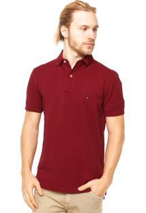 Camisa Polo Tommy Hilfiger Regular Fit Bordado Bordô