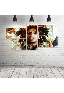 Quadro Decorativo - Bob-Marley-Hd - Composto De 5 Quadros