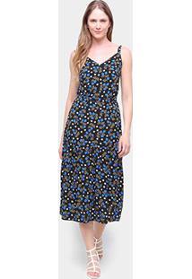 Vestido Cantão Evasê Midi Alcinha Estampado Blueberry - Feminino-Colorido