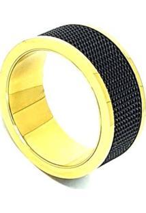 Anel Aço Inox Gold And Black