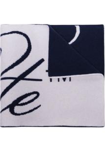 Off-White Cachecol Com Logo De Lã - Azul