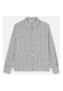 Camisa Manga Longa Em Viscose Estampa Dálmata Com Bolsos Frontais   Cortelle   Branco   Gg