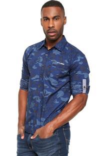Camisa Gangster Estampada Azul