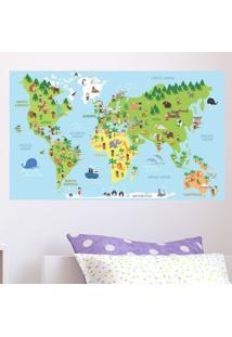 Adesivo Mapa Mundi Ilustrativo Infantil Em Inglês