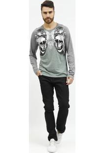 Camiseta Animal Com Recortes- Cinza Claro & Verde- Tforum
