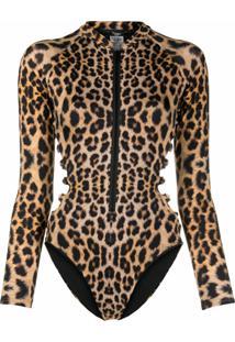 Noire Swimwear Long-Sleeved Leopard Print Swimsuit - Marrom