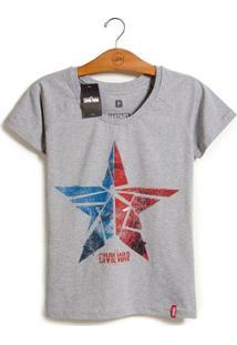 Camiseta Feminina Marvel Guerra Civil Estrela - Feminino-Cinza