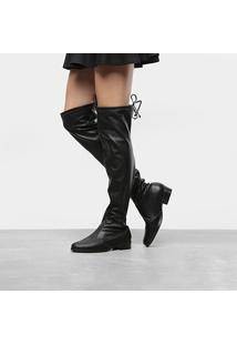 Bota Meia Over The Knee Vizzano Stretch Lux Feminina - Feminino-Preto