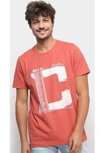 Camiseta Colcci World Tour Masculina - Masculino-Laranja