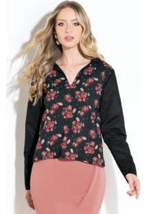 Blusa Floral Mangas Longas Em Camurça