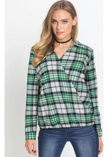 Blusa Transpassada Com Gola Xadrez Verde