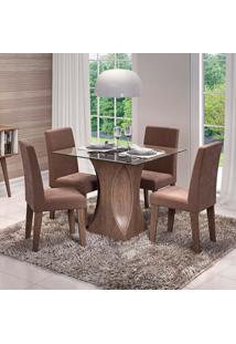 Conjunto De Mesa De Jantar Quadrada Andreia Com 4 Cadeiras Milena Suede Chocolate E Marrocos