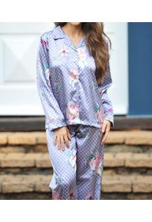 Pijama Longo Aberto Em Cetim Lua Cheia (0958) Estampa Floral