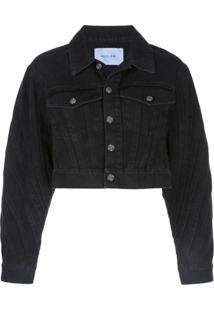 Mugler Cropped Denim Jacket - Preto