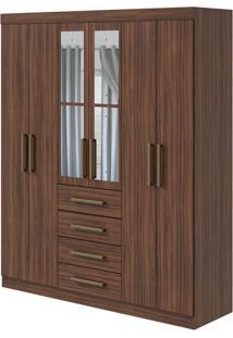 Guarda Roupa Hector Plus 6 Portas Com Espelho Imbuia Naturale