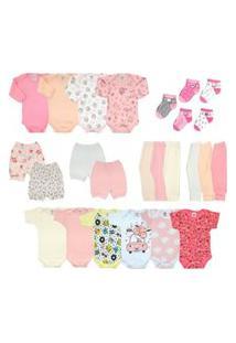 Kit Bebê 25 Peças Enxoval Completo Rosa