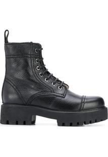 Alexa Chung Ankle Boot Com Solado Chunky - Preto