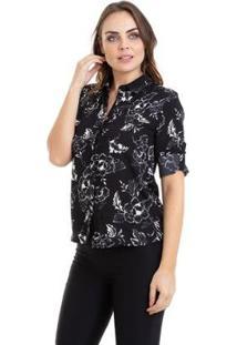 Camisa Kinara Estampada Manga Martingale Feminina - Feminino-Preto