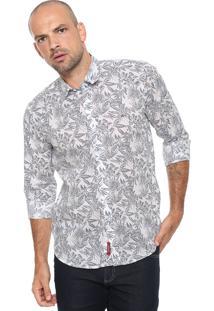 Camisa Aramis Slim Flor Branca/ Cinza