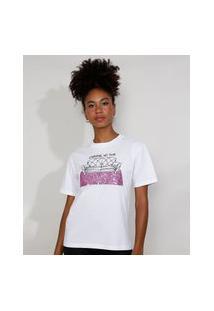 """T-Shirt Feminina Mindset Com Bordado """"Carnaval No Sofá"""" E Paetês Manga Curta Decote Redondo Branca"""