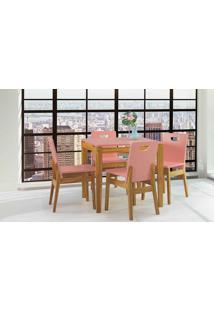 Mesa De Jantar 4 Cadeiras Tucupi 80Cm - Acabamento Stain Nózes E Rosa Coral