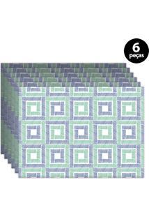 Jogo Americano Mdecore Geométrico 40X28Cm Azul 6Pçs