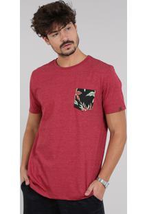 Camiseta Masculina Com Bolso Estampado Tropical Manga Curta Gola Careca Vermelho Escuro
