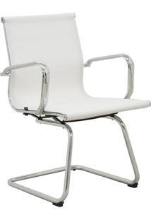 Cadeira Office Sevilha Fixa Tela- Branca & Prateada-Rivatti
