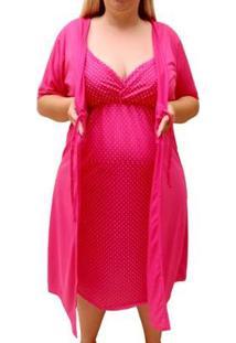 Conjunto De Camisola Plus Size Linda Gestante Com Robe Maternidade Feminino - Feminino-Pink