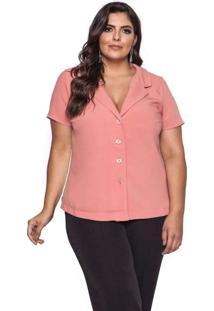 Camisa Almaria Plus Size Pianeta Liso Laranja