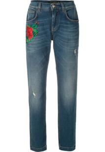 Dolce & Gabbana Calça Jeans Reta Com Bordado - Azul