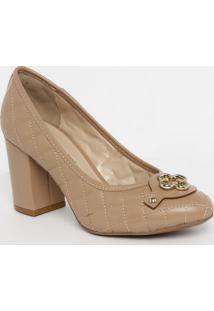Sapato Tradicional Em Couro Matelass㪠- Nude- Salto:Capodarte