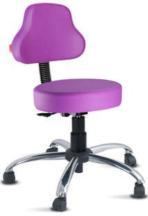 Cadeira Mocho Lilás Escuro Plus Cromada Giratória