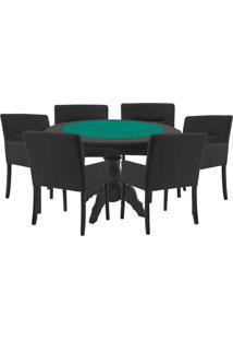 Mesa De Jogos Carteado Redonda Montreal Tampo Reversível Preto Com 6 Cadeiras Vicenza Preto Fosco - Gran Belo